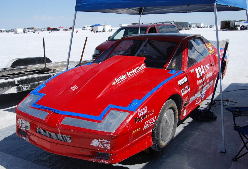 The Fox Valley Technical College (www.fvtc.edu) is a veteran of both Beat the Heat and Bonneville World of Speed racing. The car went 193 mph in 2012 before spinning a pinion bearing that had to be fixed on the salt flats.