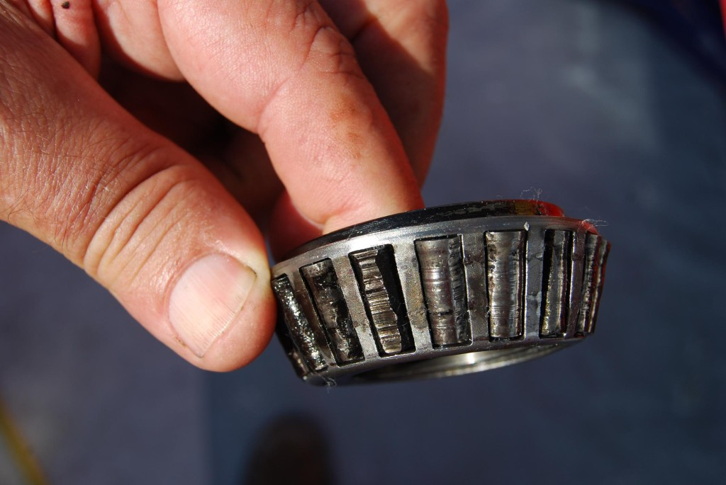This roller bearing took a beating and finding a new one was a story in itself. Luckily a team member was flying in and was able to find an auto parts store that was open at 9 pm Sunday night in Salt Lake City.