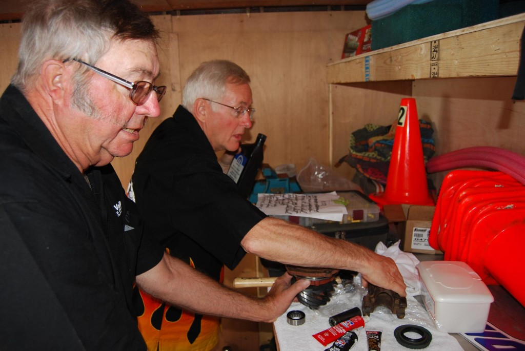 A clean environment is recommended for reassembling new parts in a rear axle and at Bonneville the cleanest place around is usually inside your racing trailer. Adult advisors Jim (r.) and Bob Buchman (l.) took on this job.