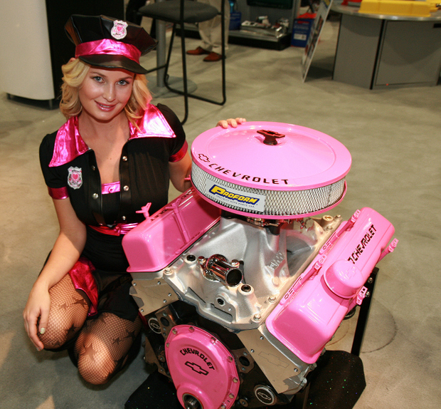 Pink Chevrolet Performance Crate Engine and Amber