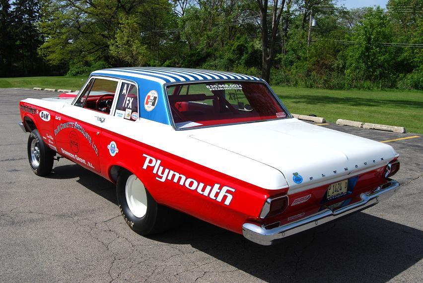 A fleet of '65 Plymouths dominated NHRA Top Stock Eliminator competition in 1965 and memories of those days inspired Dave Glass to build his red, white and blue bombshell.