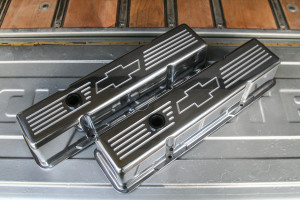 How's that for clean? We sourced Billet Specialties valve covers (PN BSP-95221) from Summit Racing that cleaned up the engine bay without breaking the bank. Thankfully these tall aluminum versions fit the bill; looking killer and selling for just under $125.