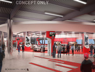 Conceptual illustration of the new Toyota Injector at Daytona International Speedway includes a car store where racing fans can see latest Toyota models.