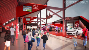 Large video screens will display the on-track action to racing fans while they shop in the retail spaces within the new facility.