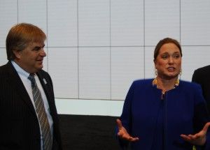 Daytona International Speedway president Joie Chitwood III (left) watches as CEO Lesa France Kennedy makes a point about the new deal with Toyota.