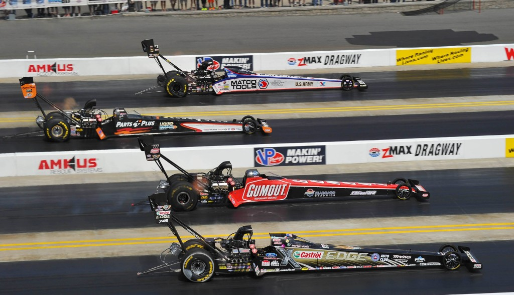 Photo: Ron Lewis Photography/JFR Racing First Round Top Fuel quad action with Antron Brown driving his Matco Tools dragster to advance against Clay Millican, Leah Pritchett, with Brittany Force finshing second in the round.