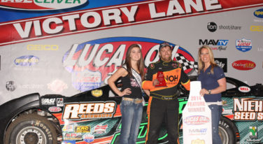 Dwight Niehoff in Victory Lane with Miss Lucas Oil Speedway  Brooke Heydenreich and Rep from KY3