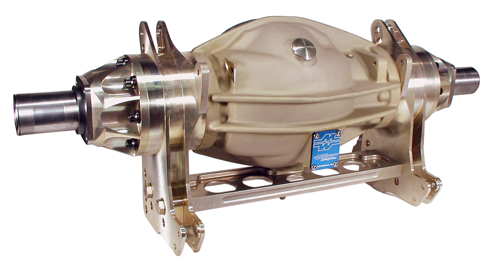 "This Modular 9"" Pro 4-Link housing is the ultimate 9"" for the suspended rear racecar. The layout of the 4-link attachment points coincide with those used by today's Pro Stock chassis builders. Units are available in both floater and flange type configurations (this one is obviously a floater). As pointed out in the text, a billet aluminum cross tie bar is used to secure the 4-link brackets to the bottom of the housing. The housing also has provisions for either upper or lower wishbone attachment and you can see here, it comes with shock and wheelie bar mounts. The standard housing has a 37-inch wheel-to-wheel width and 20-inch 4-link centers. Other dimensions are available."