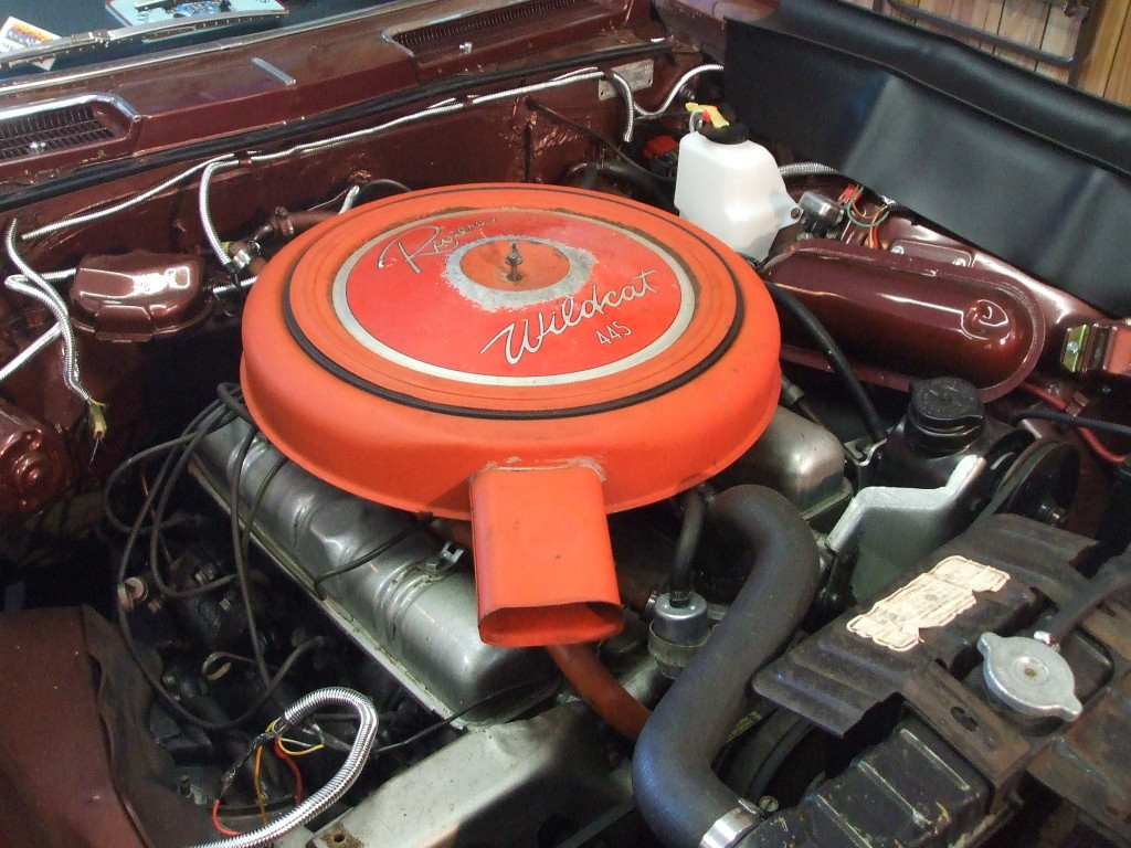 """The 1963 Buick Riviera had 66,000 miles on it. In preparation for the new plumbing,  Schilling cleaned and painted the engine compartment."""