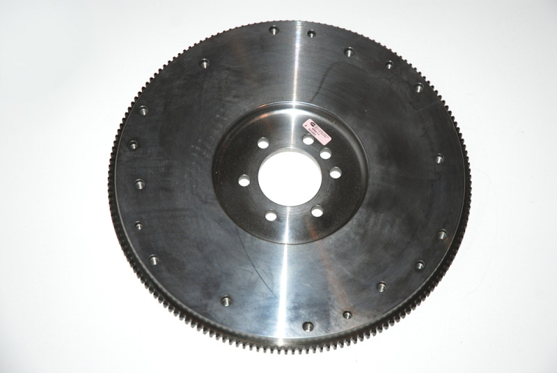 This is the 25-pound steel, 168-tooth ring gear flywheel we used behind a 427-inch big block Chevy. When considering flywheels, you'll find there are plenty of different weights. Typically, they range from 25 pounds to 30 to 40-pounds for most Chevy's.