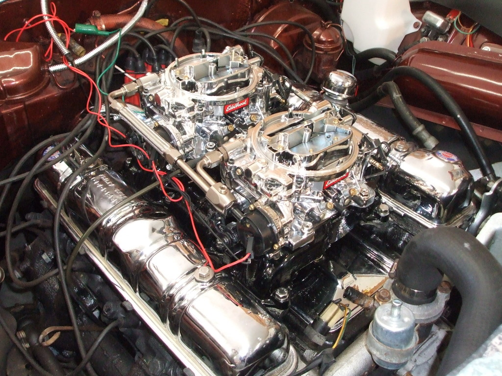 """After hooking up the fuel lines, we temporarily wired the chokes for our initial startup.  """" """"I can't say enough about these Edelbrock carburetors. The engine turned over three times and started right up. After a few minor adjustments to the linkage, the car sat there running like it always had. They sure make an installation like this simple to do!"""