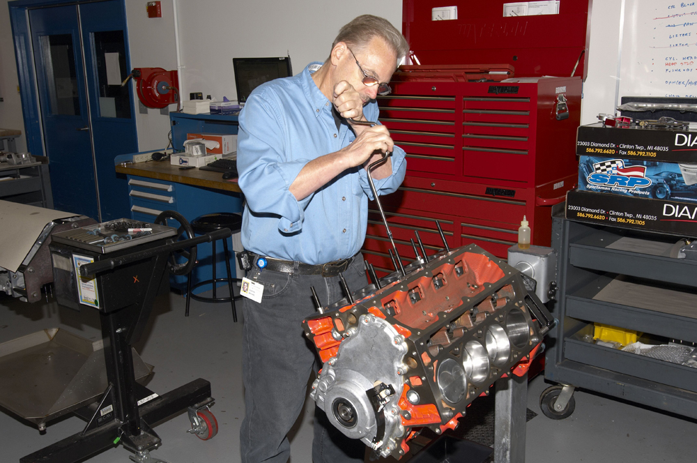 Here are some insider photos from the Chevy Race Shop. What's going on here?  Simple. That's a new COPO Camaro engine being assembled.  You have to ask yourself if you're up to the task or if you should sign the check for a crate motor.