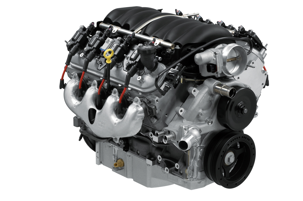In today's world, crate motors aren't limited to carbureted examples (you don't have to be limited to carbs either, even if you homebuild).  What's shown here is a 6.2 liter (376) out of a Camaro.  And by the way, you might find something like this in core form, but it won't be cheap.