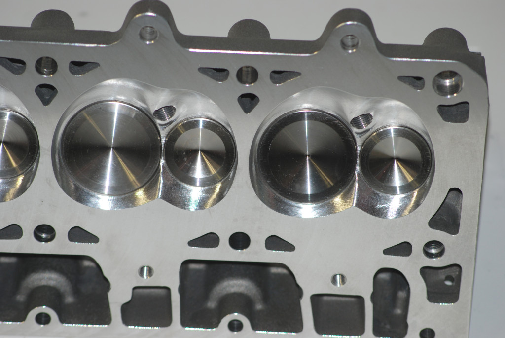 Here's a look at the combustion chamber on the STS BR 7 head. As you can see, it's fully machined. It holds 71-cc's (1 more than specified for a stock LS7) and includes huge 2.204-inch intake valves and 1.614-inch exhausts.