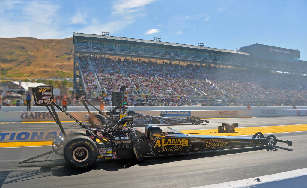 Khalid alBalooshi, near lane, races to his second win of the season against his teammate, Shawn Langdon, in the 27th annual NHRA Sonoma Nationals in Sonoma, Calif.  (Courtesy: Auto Imagery)Photo: Courtesy Al-Anabil Racing