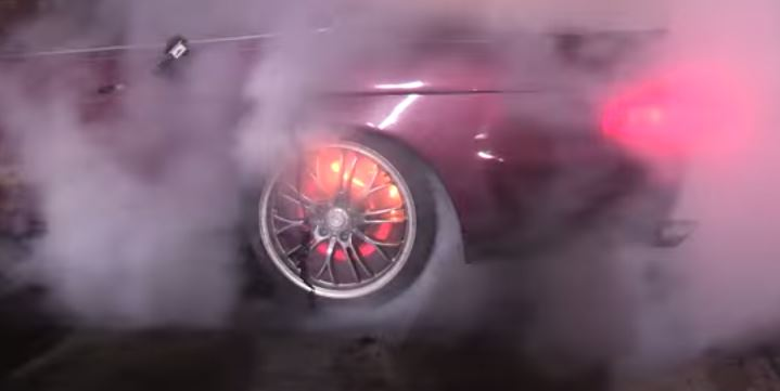 Brakes catch fire burnout