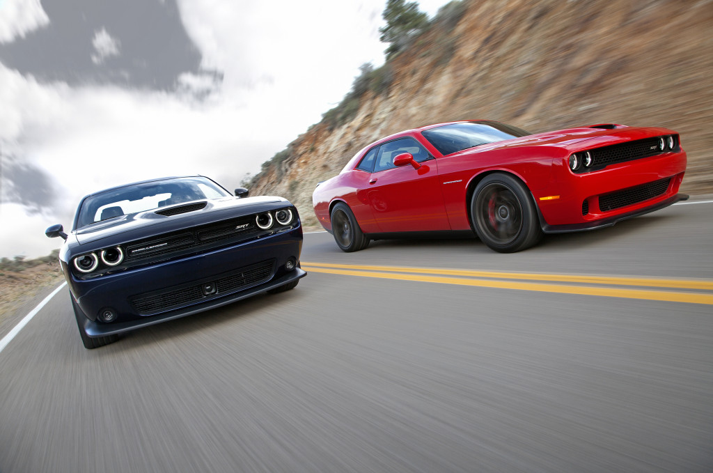 2015 Dodge Challenger SRT (left) and Dodge Challenger SRT Hellca