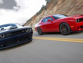 2015 Dodge Challenger SRT (left) and Dodge Challenger SRT Hellca