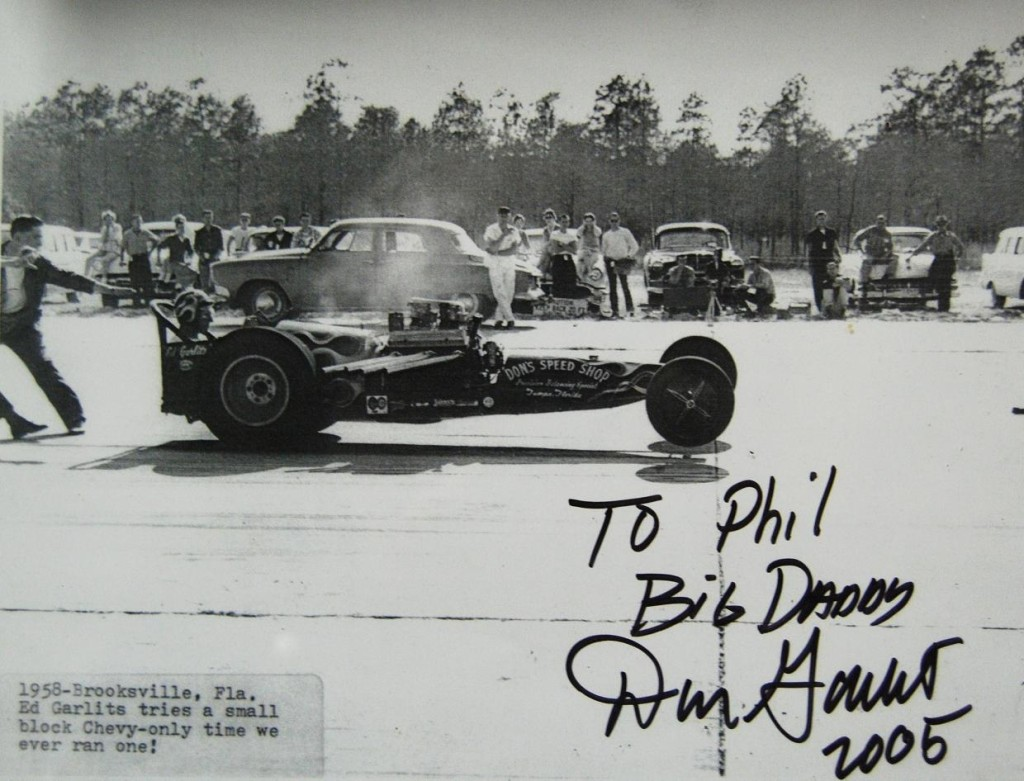 """Big Daddy"" Don Garlits sent 1957 photo to ""Firesuit Phil"" Pofahl in 2005. Phil passed away in 2011, but his accomplishments need to be preserved."