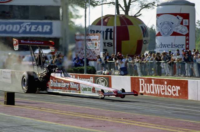 On March 22,1992 at the Motorcraft Gatornationals at Gainesville Raceway, Kenny Bernstein became the first driver to break 300 miles per hour with a speed of 301.7 becoming the King of Speed. Photo courtesy NHRA.