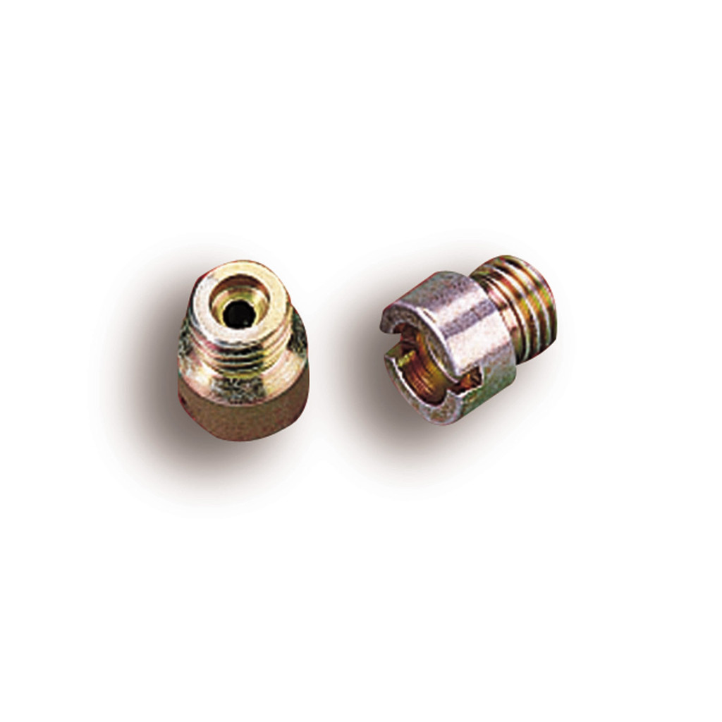 Stock carburetor jets have an orifice diameter of about .060 inches. These Holley performance jets are .084 in diameter.