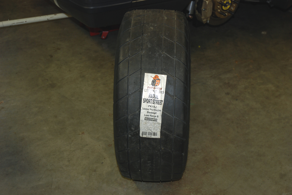 Note the tread pattern.  It has grooves because many of the street car racing organizations mandate them. M&H Racemaster engineers tested a number of different groove configurations.  While the actual grooving configuration and method used to develop it are proprietary, M&H found that the groove shown here showed the best performance and overall reliability during testing.