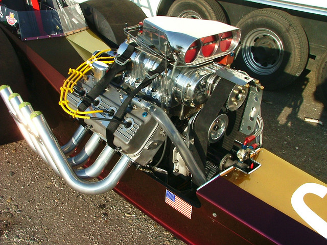 A blown and injected dragster engine.
