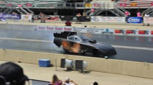 Don Schumacher Racing driver Matt Hagan tested the new 2015 Mopa