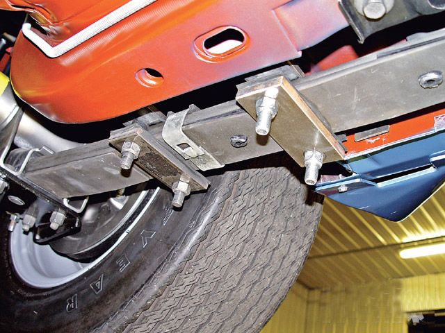 Installing extra leaf spring clamps to the front portion of the rear leaf springs helps reduce wheel hop and stiffen your spring rates. By clamping the front section of your rear leaf springs, you make them more like a solid bar, causing them to act like traction bars.