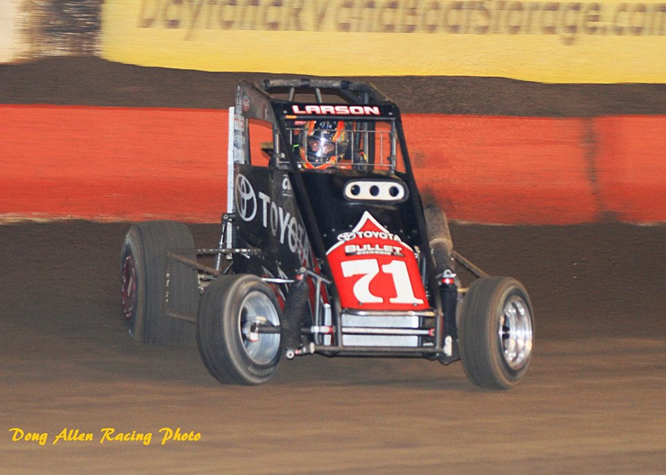 NASCAR Sprint Cup star, Kyle Larson will be returning to the scene of his 2012 Turkey night win. Can he add another win to the list? CREDIT: Doug Allen