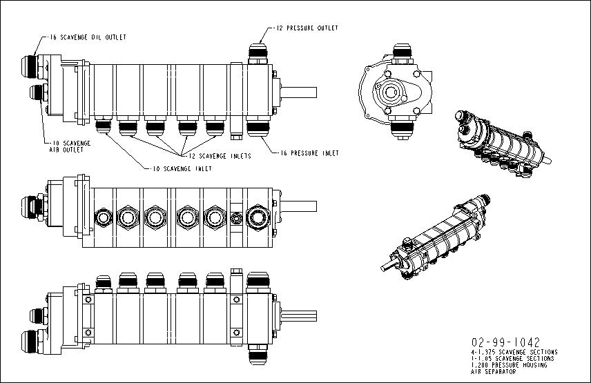 A drawing of a five stage dry sump oil pump from Dailey Engineering
