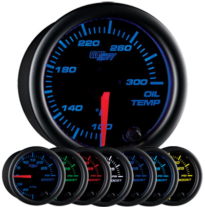 "Glow Shift Oil Temperature Gauge. An oil temp gauge will say ""Oil Temp"" on the gauge face."