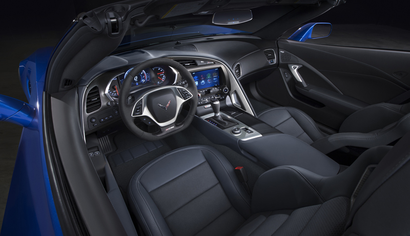The Z06 interior is distinguished from the Stingray by unique color schemes that emphasize the cockpit, and a unique, flat-bottomed steering wheel. Like the Stingray, the Z06 will be offered with two seating choices: a GT seat, for all-around comfort, and a Competition Sport seat with more aggressive side bolstering. The frame structure for both seats is made of Magnesium, for greater strength. They're also more rigid, contributing to the enhanced feeling of support during performance driving. The all-new, industry-leading Performance Data Recorder enables users to record high-definition video of their driving experiences on and off the track with telemetry overlays.