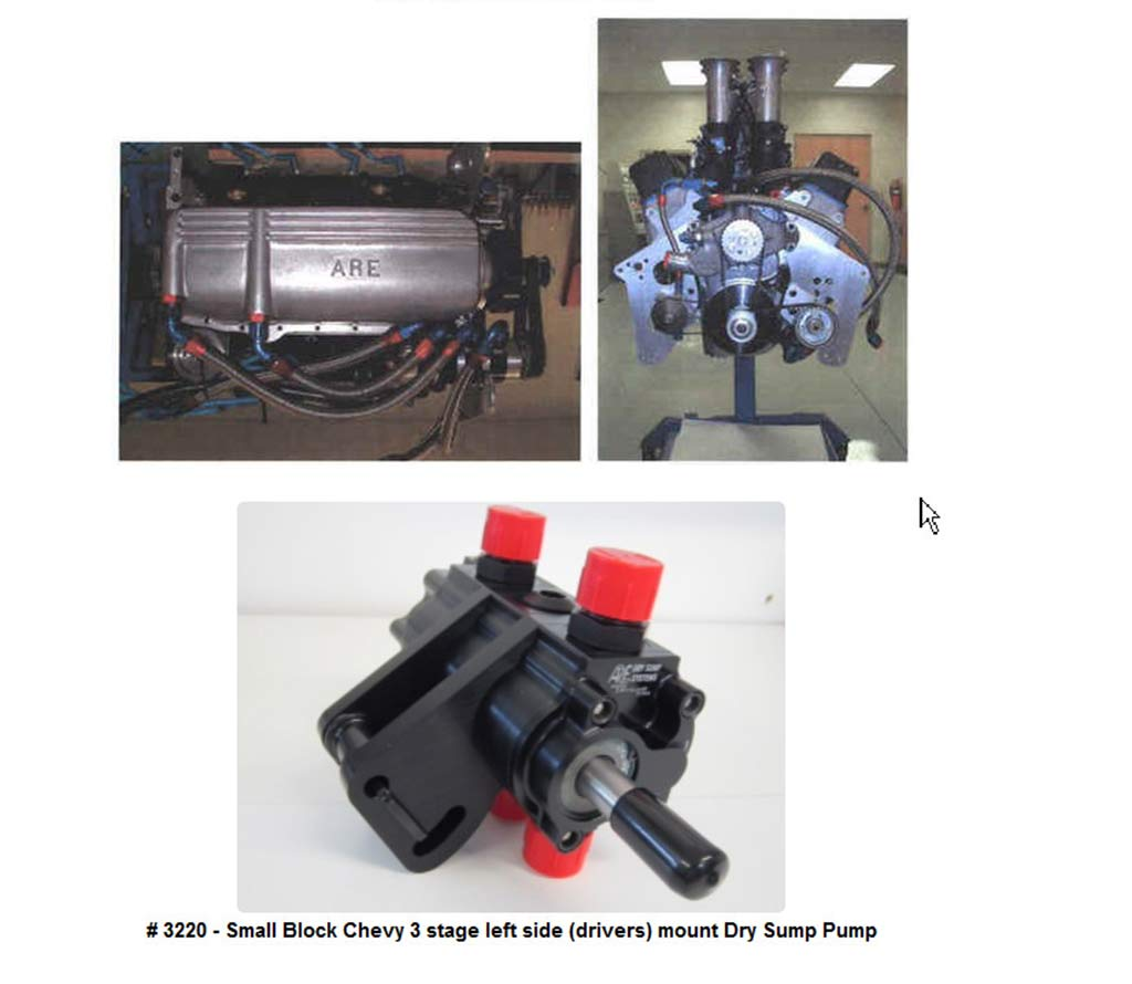 Top Left: An ARE Low Capacity Oil Pan showing the scavenge stage tubing. Top Right: Front shot of a SB Chevy engine with an ARE Stage 3 left-side mount dry sump pump installed, as well as the scavenge tubing. Bottom: Stage 3 SB Chevy dry sump pump