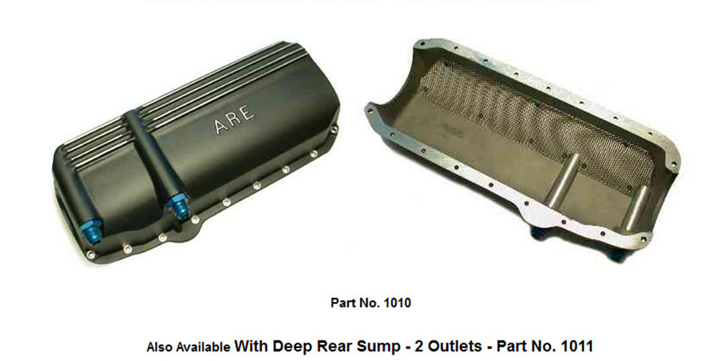 Screenshot showing a low capacity dry sump oil pan from ARE with two scavenge outlets.
