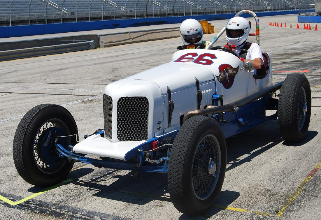 Lou Natenschon's early formula Ford still races in the vintage circuit.