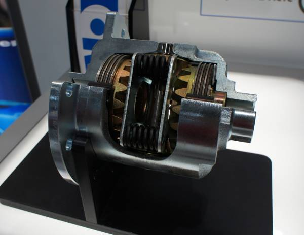 This is an example of a newer-style Eaton Posi-Trac diff carrier. Notice the heavy duty springs that allow a very limited slippage to control wheel hop and axle strain while cornering.
