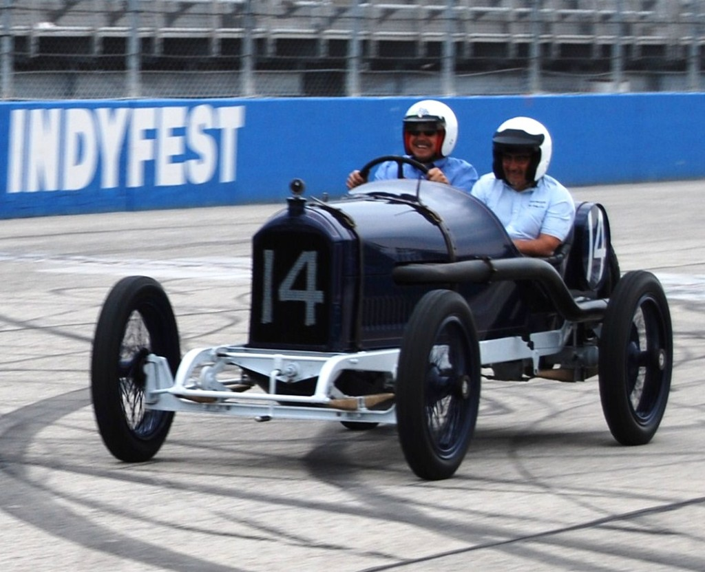 The 1913 Peugeot 3.0-liter coupe de l-auto at the Milwaukee Mile.
