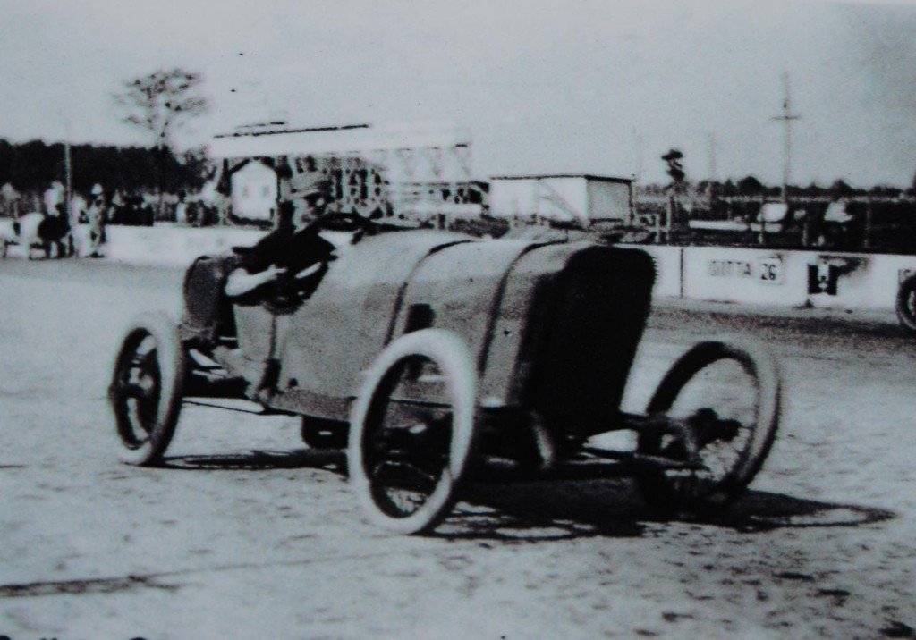 Early cameras distorted this image of a Peugeot at speed.
