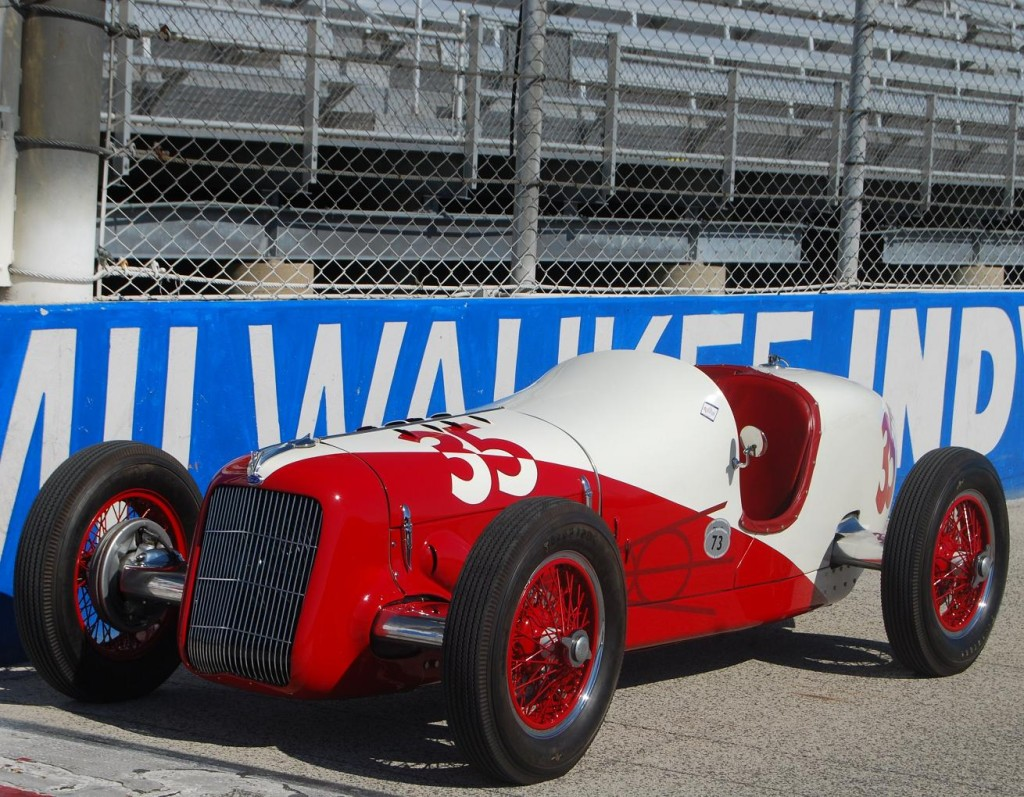 Most of the Fords at Indy were front-wheel-drive Millers and their engines were mounted in the chassis backwatds to mate with Miller's FWD system.