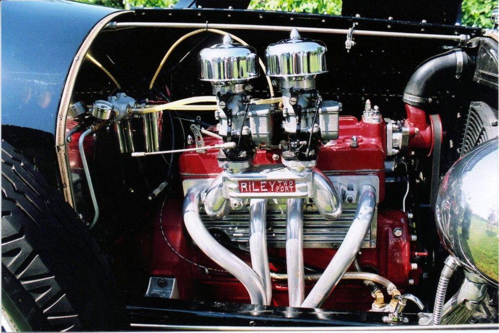 Model A motor has a high-compression head, a Riley two-port intake and a pair of Stromberg 97 carburetors.