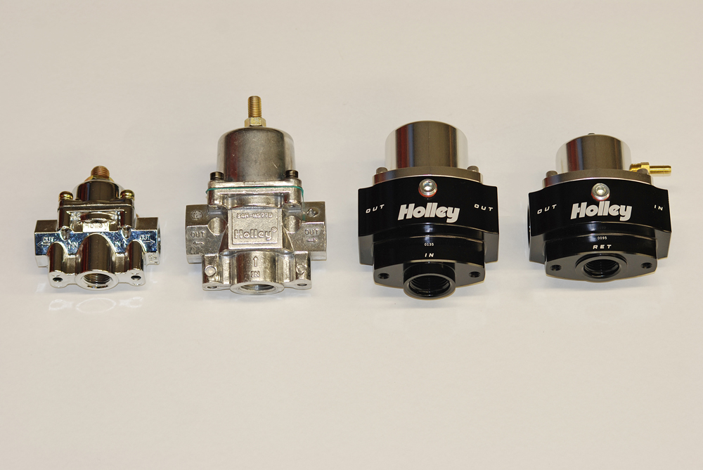 Here's a side-by-side look at all four of the Holley regulators discussed in our article. As you can see, from a physical perspective, there's a huge range of size.  There's much more to it than simply size though: