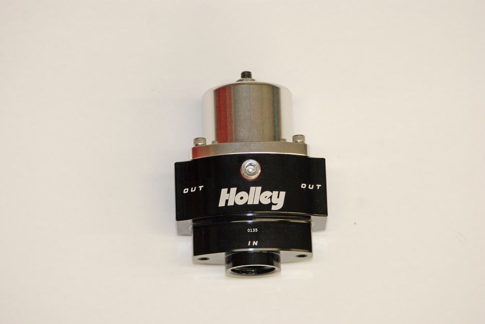 Holley billet bodied 12-843 is also a carburetor style regulator. Performance is similar to the 12-704, however it's fitted with a -10AN inlet and dual -8AN outlets.