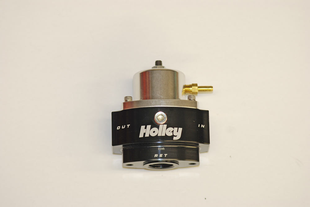 Holley's 12-848 is an EFI regulator. It has a range of 40-70 PSI.  This is a return style regulator. It's built with a -10 AN inlet, a -10 AN outlet and a -8 AN return port. It also has a vacuum/boost reference port.
