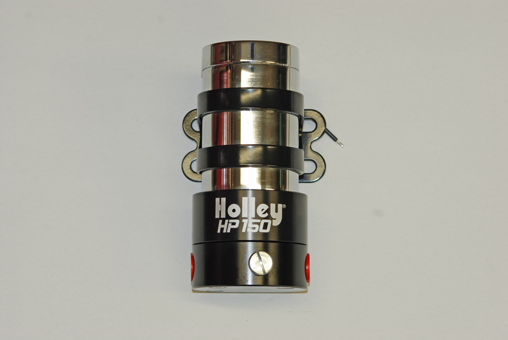Holley's 150 GPH (free flow) pump is internally regulated to 16 PSI.  An external regulator is included (for gasoline).  Regulated to 7 PSI, the pump still produces 140 GPH.