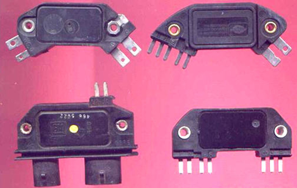 The four-pin module (upper left), was used on conventional carbureted engines that use conventional, mechanical timing-controls (vacuum and centrifugal advance mechanisms). The five-pin module was introduced in 1978, and was an early attempt at electronic timing control. The five-pin module contains a provision for connecting a knock sensor, so timing can be retarded electronically. The seven-pin module is used on early computer-controlled engines.