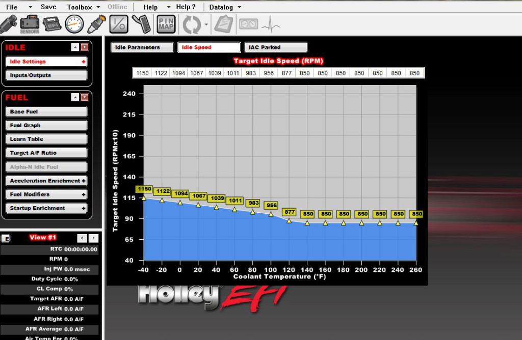 In the idle speed menu, you can work out the idle speed based upon coolant temperatures (basically, it's like working out the idle speed in a carb-equipped application with a choke).