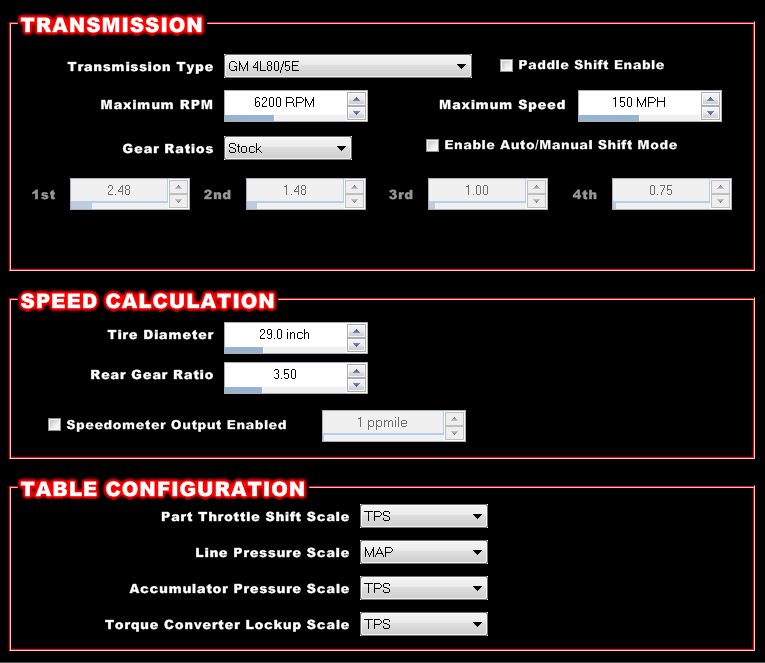 With an electronically controlled transmission (for example, a GM 4L80E), the Dominator ECU can be configured to control it.  Note the simple drop down menus. Its pretty much plug and play.  More in the next screen shot: