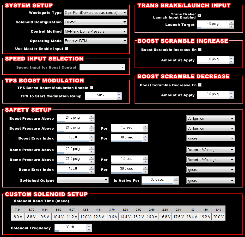 This is what Holley's Boost Setup screen looks like.  As you can see, there are all sorts of options you can select from, and like the rest of the system it's incredibly user friendly.