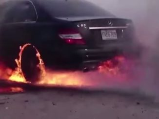 Mercedes C63 AMG Burnout Fire